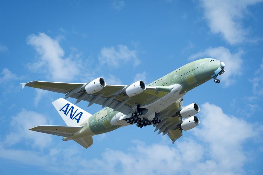 A380 ลำแรกของสายการบิน ออลนิปปอนแอร์เวย์ ทะยานขึ้นสู่ท้องฟ้า